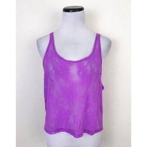NWT Pink Victoria's Secret Sheer Lace Crop Tank